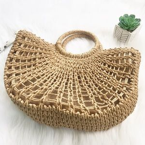 Violet507 Bags - Straw Round Handle Tote Bag